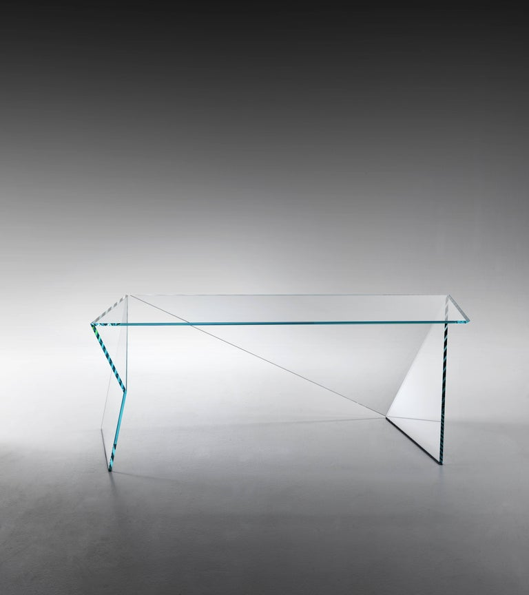 Executive Desk Table Modern Glass Crystal Limited Edition Design In New Condition For Sale In Ancona, Marche