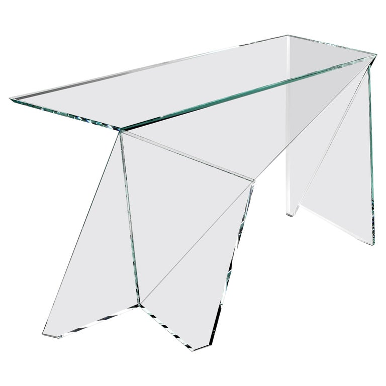 Italian Desk Table Modern Glass Crystal Limited Edition Design For Sale