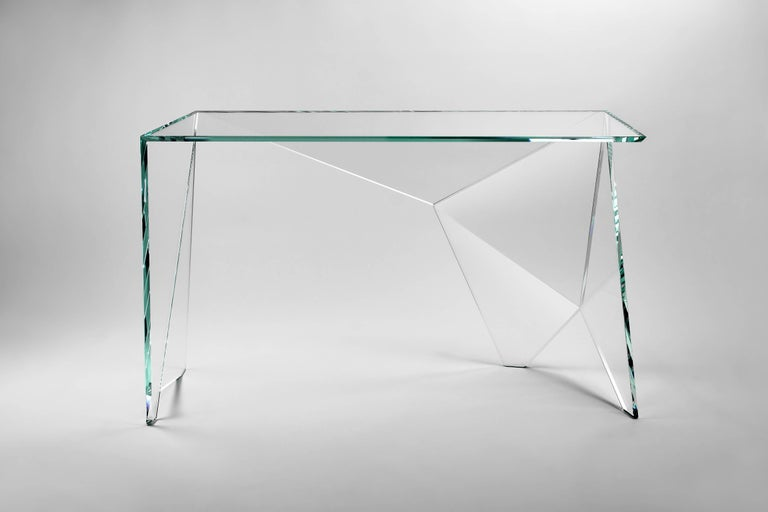 Hand-Crafted Desk Table Modern Glass Crystal Limited Edition Design For Sale