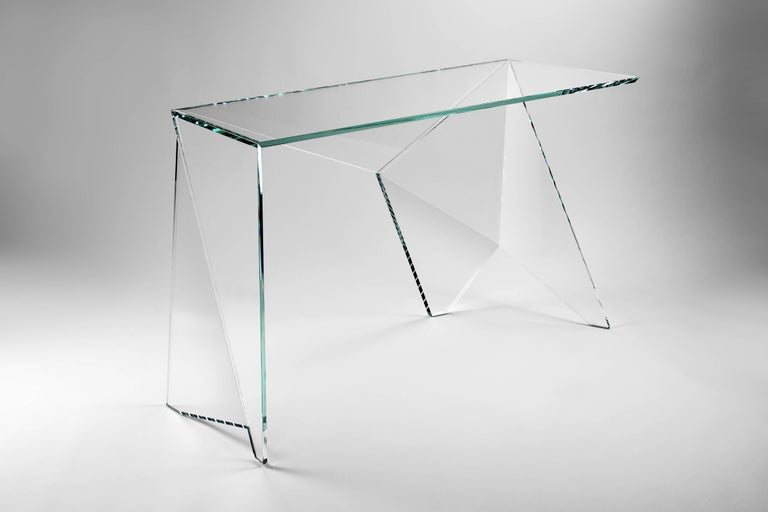 Desk Table Modern Glass Crystal Limited Edition Design In New Condition For Sale In Ancona, Marche