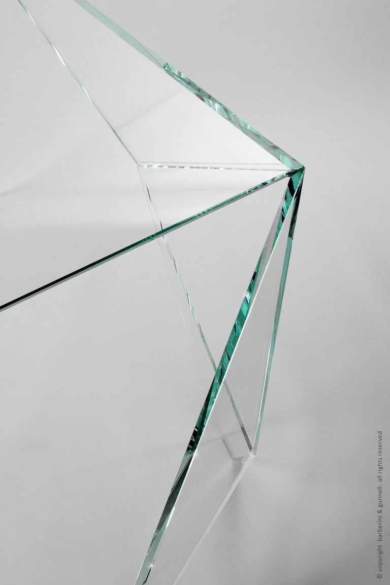Desk Table Modern Glass Crystal Limited Edition Design For Sale 2