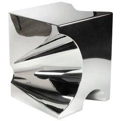 Quadratischer Beistelltisch/Hocker/Würfel aus Stahl, Italienisch, Zeitgenössisches Design