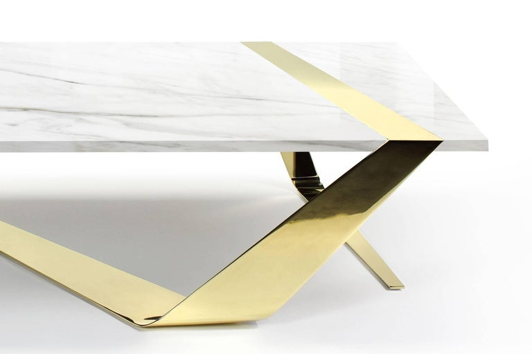 Polished Coffee Table Modern Rectangular Marble White Brass Italian Limited Edition For Sale
