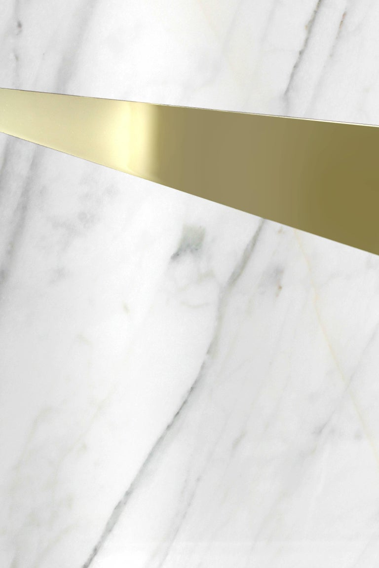 Coffee Table Modern Rectangular Marble White Brass Italian Limited Edition In New Condition For Sale In Ancona, Marche