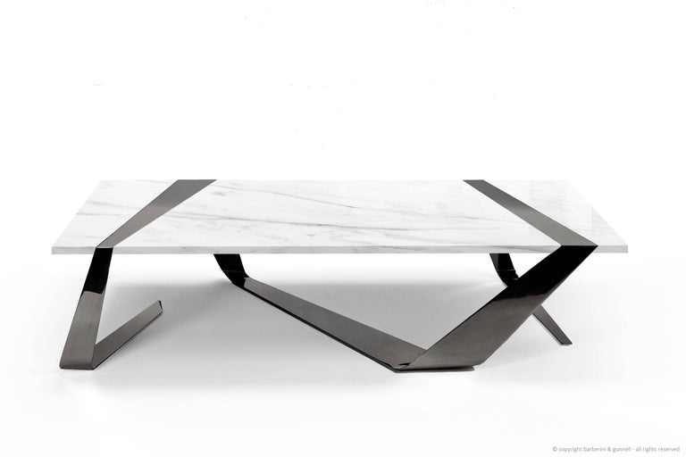 Coffee Table Modern Rectangular Marble White Brass Italian Limited Edition For Sale 2