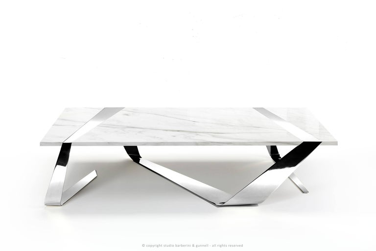 Coffee Table Modern Rectangular Marble White Brass Italian Limited Edition For Sale 3