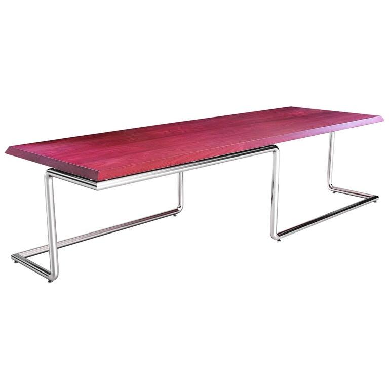Executive Desk Rectangular Wood Purple Steel Italian Contemporary Design For Sale