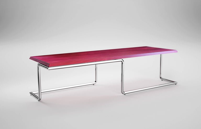 The balance executive desk is made of polished stainless steel tubes welded together leaving the seam invisible tabletop in amaranth wood solid slab. Executive desk dimension: L 300 x W 100 x H 75cm. Each table is hand signed and numbered by the