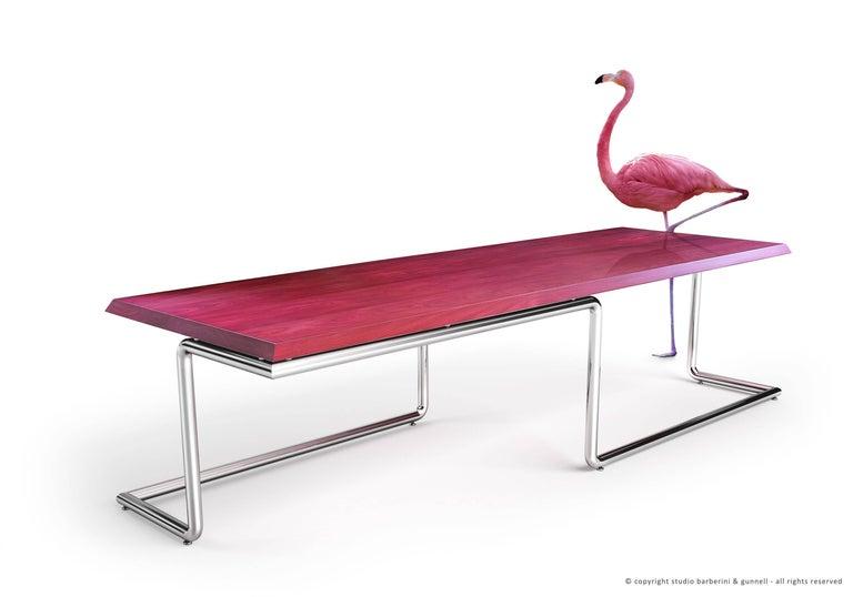 Polished Executive Desk Rectangular Wood Purple Steel Italian Contemporary Design For Sale