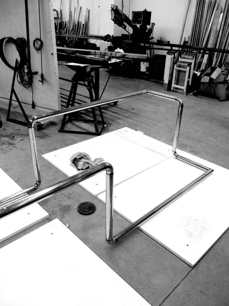 Executive Desk Rectangular Wood Purple Steel Italian Contemporary Design In New Condition For Sale In Ancona, Marche
