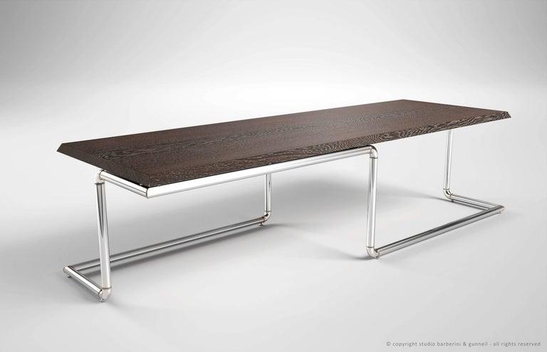Executive Desk Rectangular Wood Purple Steel Italian Contemporary Design For Sale 2