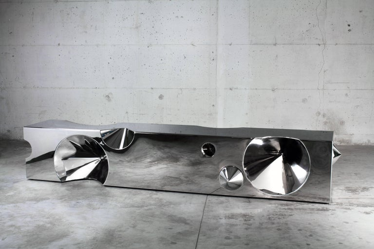 Italian Handmade Bench Sculpture Stainless Steel Limited Edition Design Italy For Sale