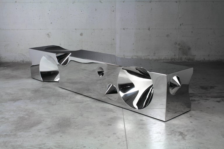 Polished Handmade Bench Sculpture Stainless Steel Limited Edition Design Italy For Sale