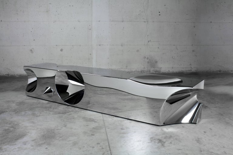 Handmade Bench Sculpture Stainless Steel Limited Edition Design Italy In New Condition For Sale In Ancona, Marche
