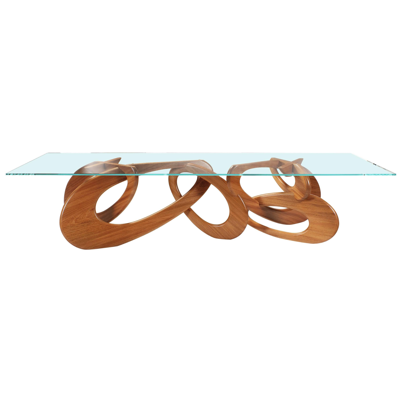 Dining Table Rectangular Wood Glass Crystal Italian Contemporary Design