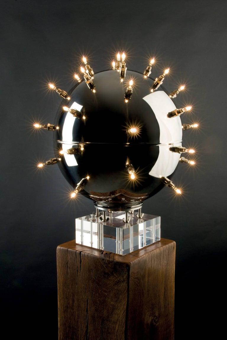 Contemporary Design Lamp Chandelier Sphere Steel Dimmerable Italian 2