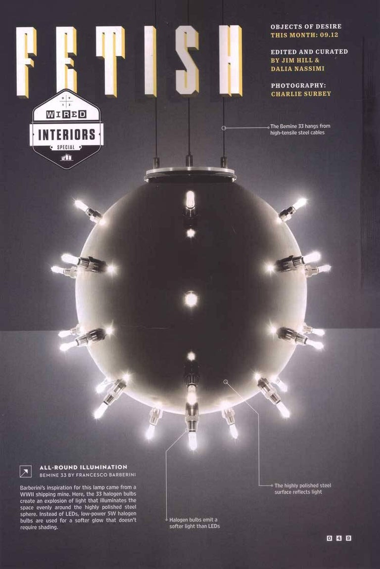 Contemporary Design Lamp Chandelier Sphere Steel Dimmerable Italian 5