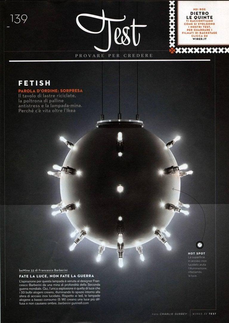 Contemporary Design Lamp Chandelier Sphere Steel Dimmerable Italian 7