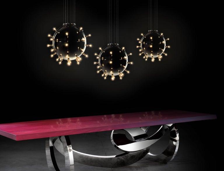 Contemporary Design Lamp Chandelier Sphere Steel Dimmerable Italian 8