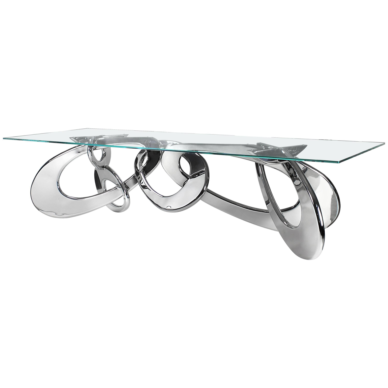 Dining Table Contemporary Design Rectangular Glass Steel Italian
