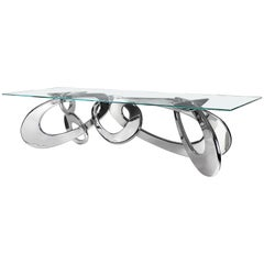 Dining Table Contemporary Design Rectangular Glass Steel Italian