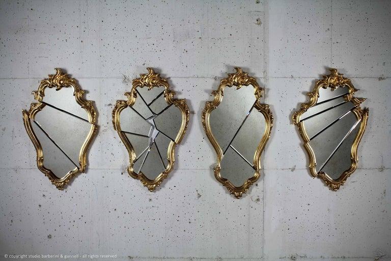 Wall Mirror Classic Frame Gold Rococo Italian Contemporary Design In New Condition In Ancona, Marche