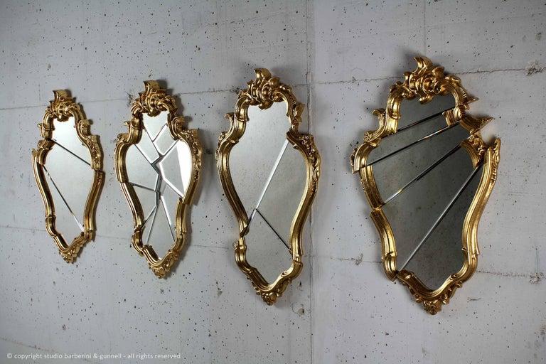 Wood Wall Mirror Classic Frame Gold Rococo Italian Contemporary Design