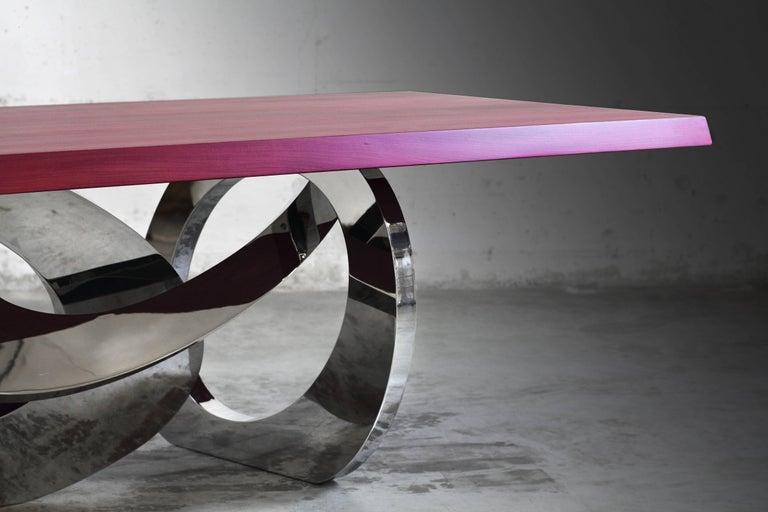 Modern Dining Table Rectangular Steel Amaranth Wood Purple Italian Contemporary Design  For Sale
