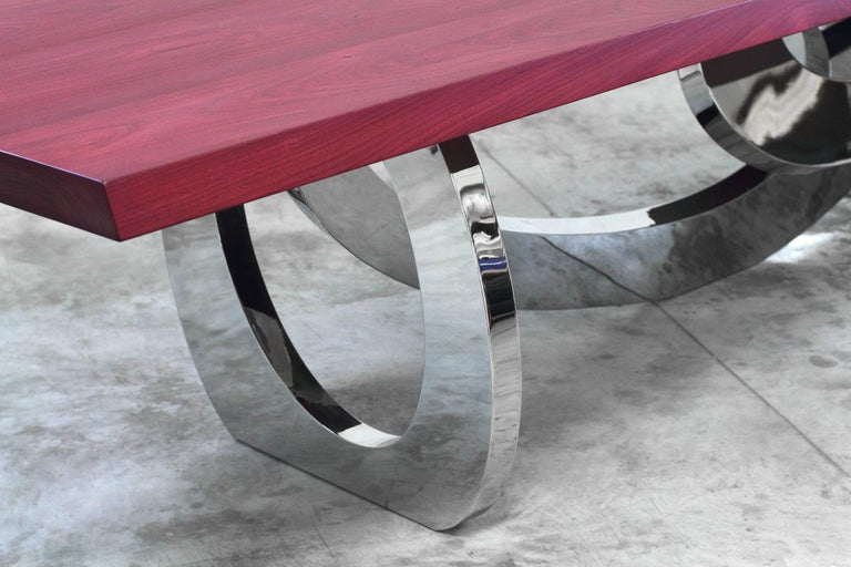 Dining Table Rectangular Steel Amaranth Wood Purple Italian Contemporary Design  In New Condition For Sale In Ancona, Marche