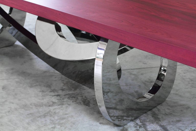 Stainless Steel Dining Table Rectangular Steel Amaranth Wood Purple Italian Contemporary Design  For Sale