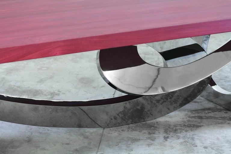 Dining Table Rectangular Steel Amaranth Wood Purple Italian Contemporary Design  For Sale 1