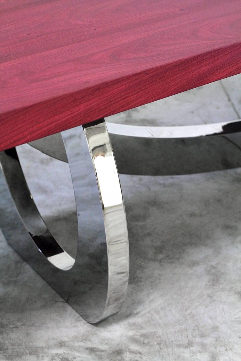 Dining Table Rectangular Steel Amaranth Wood Purple Italian Contemporary Design  For Sale 2