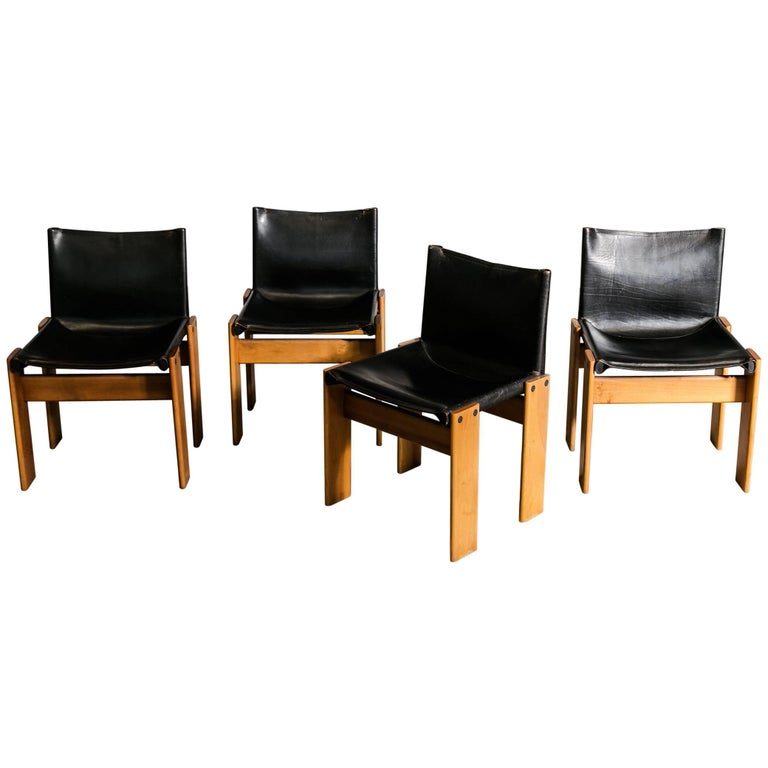 """Set of Four Afra & Tobia Scarpa """"Monk"""" Chairs"""