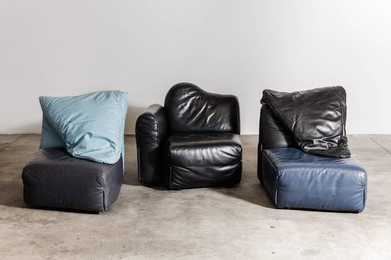 """Special Edition sofa """"Cannaregio"""" for Magasin Du Jardin. This piece is in its original leather upholstery and the frame and base is made of timber. Produced by Cassina 1987, Italy."""