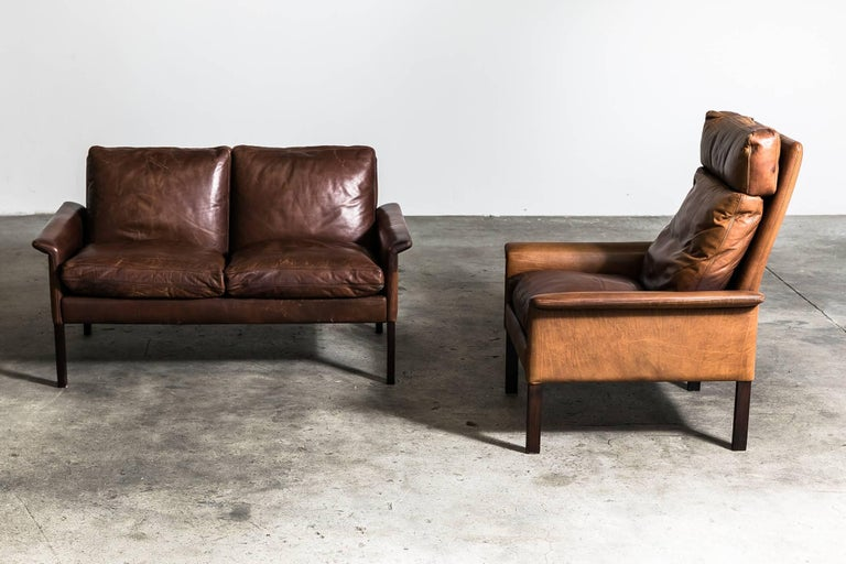 Hans Olsen Two Seat Leather Sofa And Armchair For Sale At