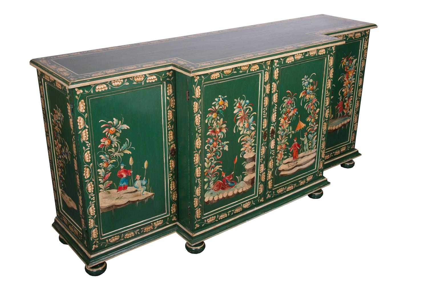 Mid 20th Century English Painted Breakfront Credenza For Sale At 1stdibs