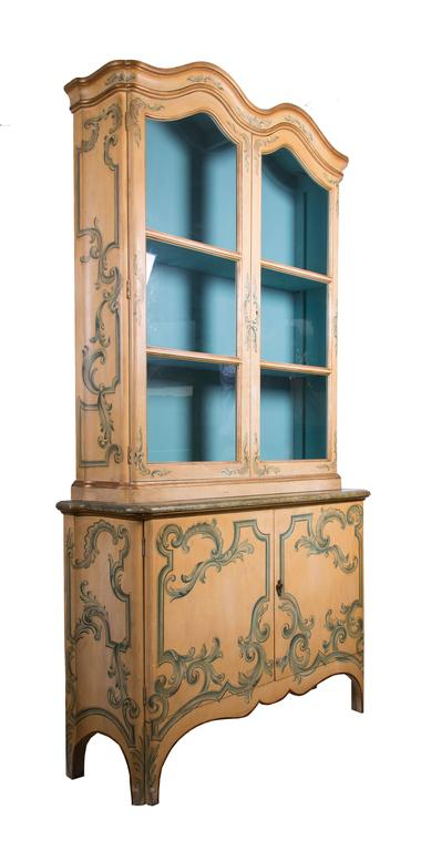 Romantic Painted Italian Cabinet with Glazed Doors For Sale