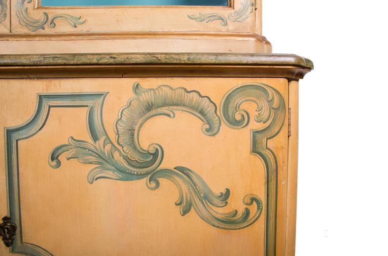 20th Century Painted Italian Cabinet with Glazed Doors For Sale