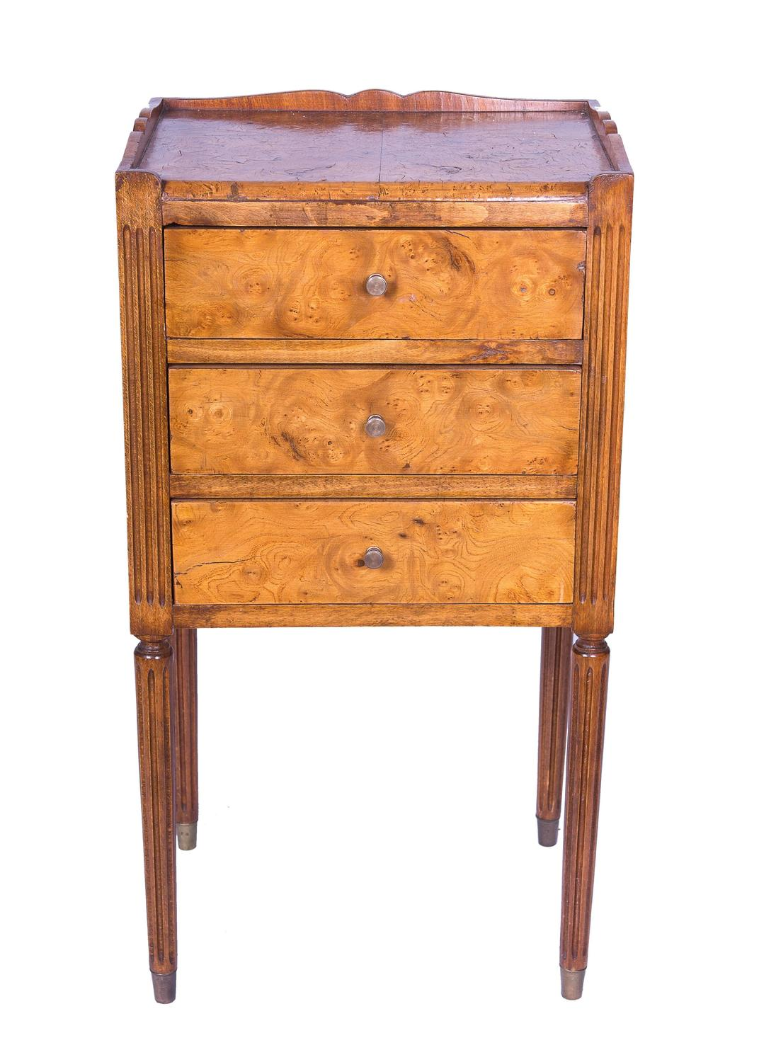 Pair Of Burled Elm Continential Side Tables For Sale At 1stdibs