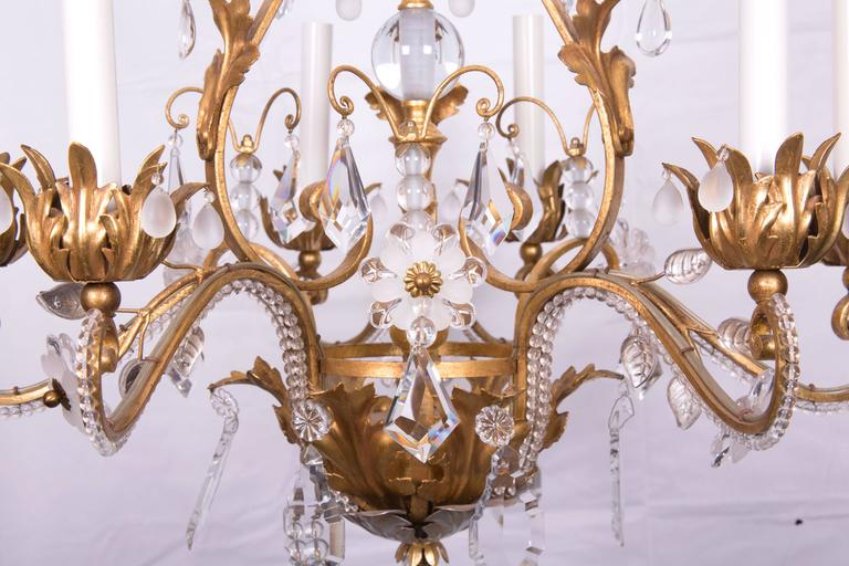 Gilt French Baguès Chandelier For Sale