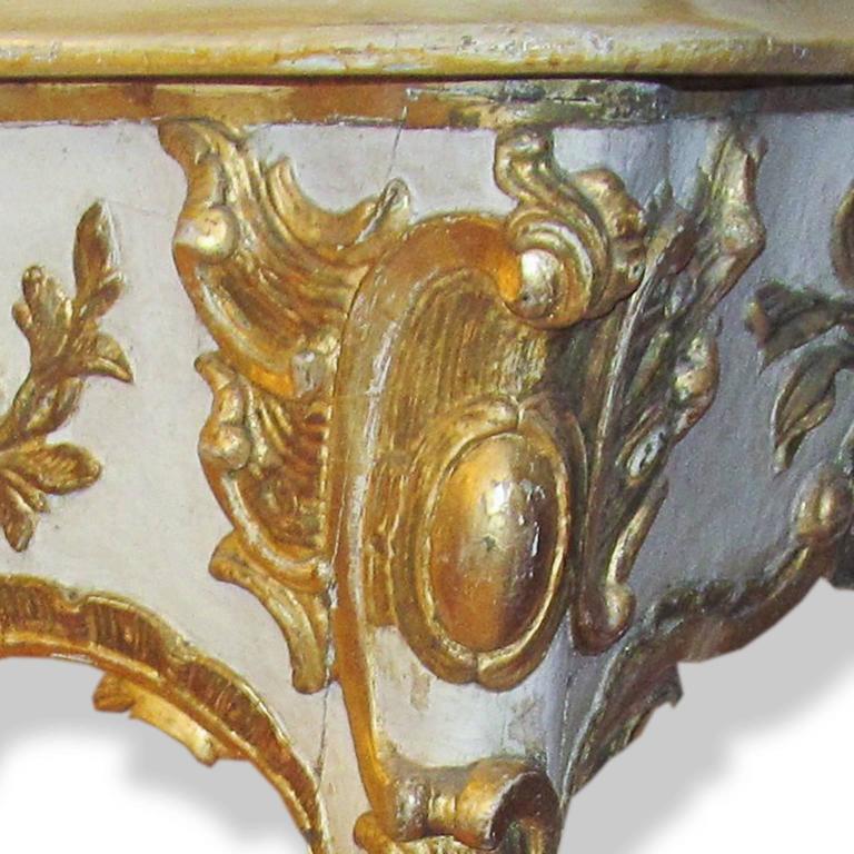 Baroque 19th Century Cream and Gilt Italian Console For Sale