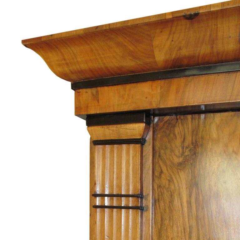 Woodwork Period Biedermeier Cherry and Ebonized Armoire For Sale