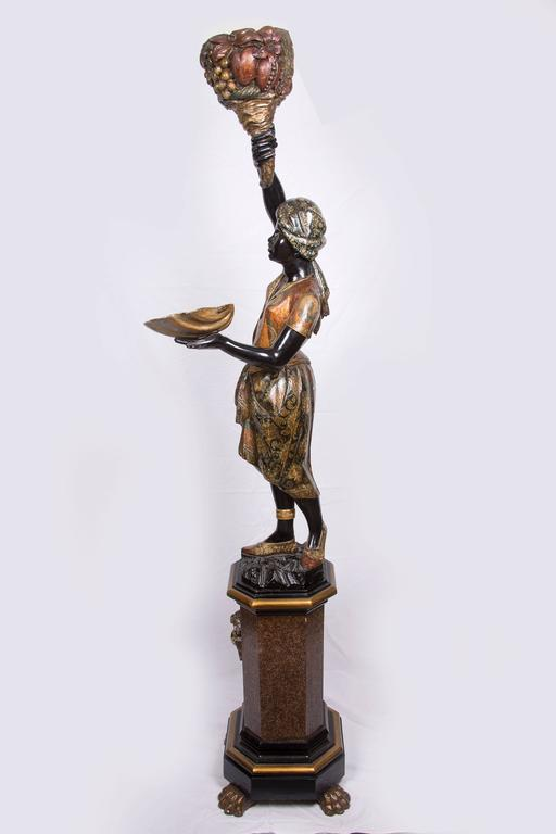 Pair of Venetian Polychrome Decorated and Ebonized Blackamoor Figures In Good Condition For Sale In WEST PALM BEACH, FL