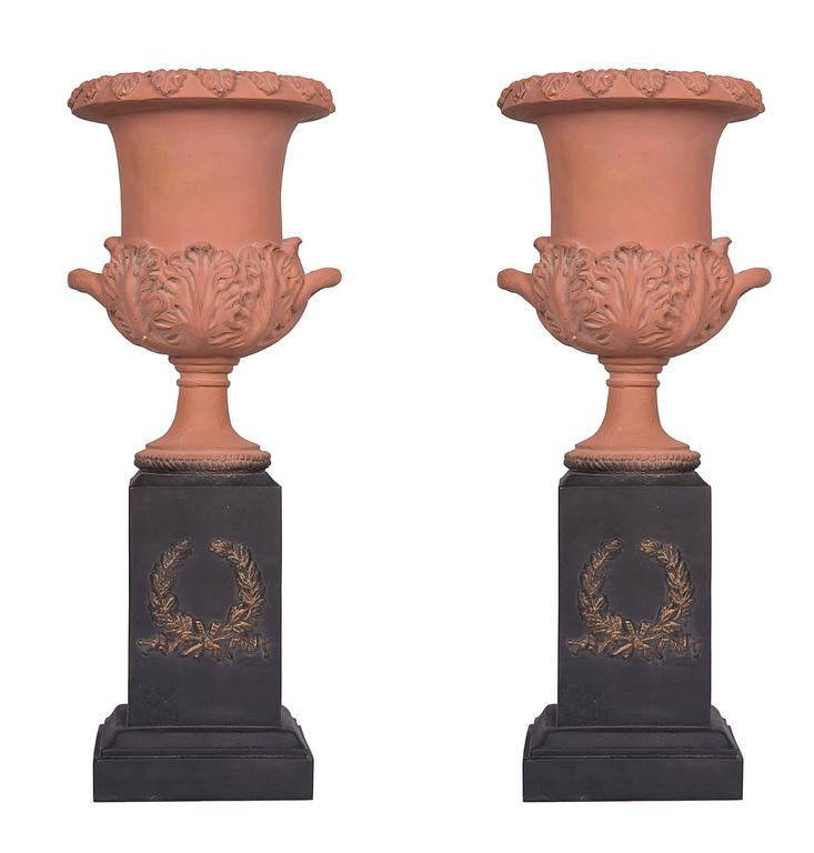 Pair of Neoclassical Terracotta Urns on Decorated Plinths 1