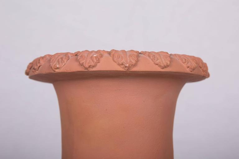 Pair of Neoclassical Terracotta Urns on Decorated Plinths 2