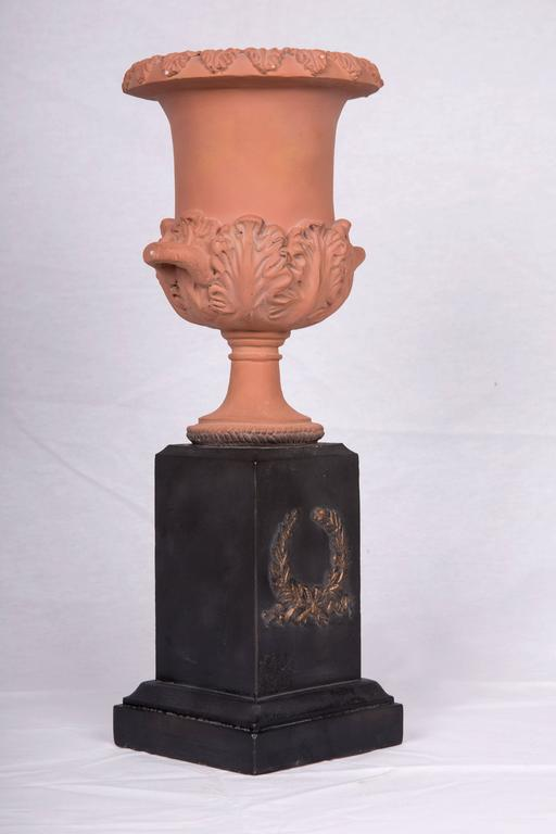 Pair of Neoclassical Terracotta Urns on Decorated Plinths 5