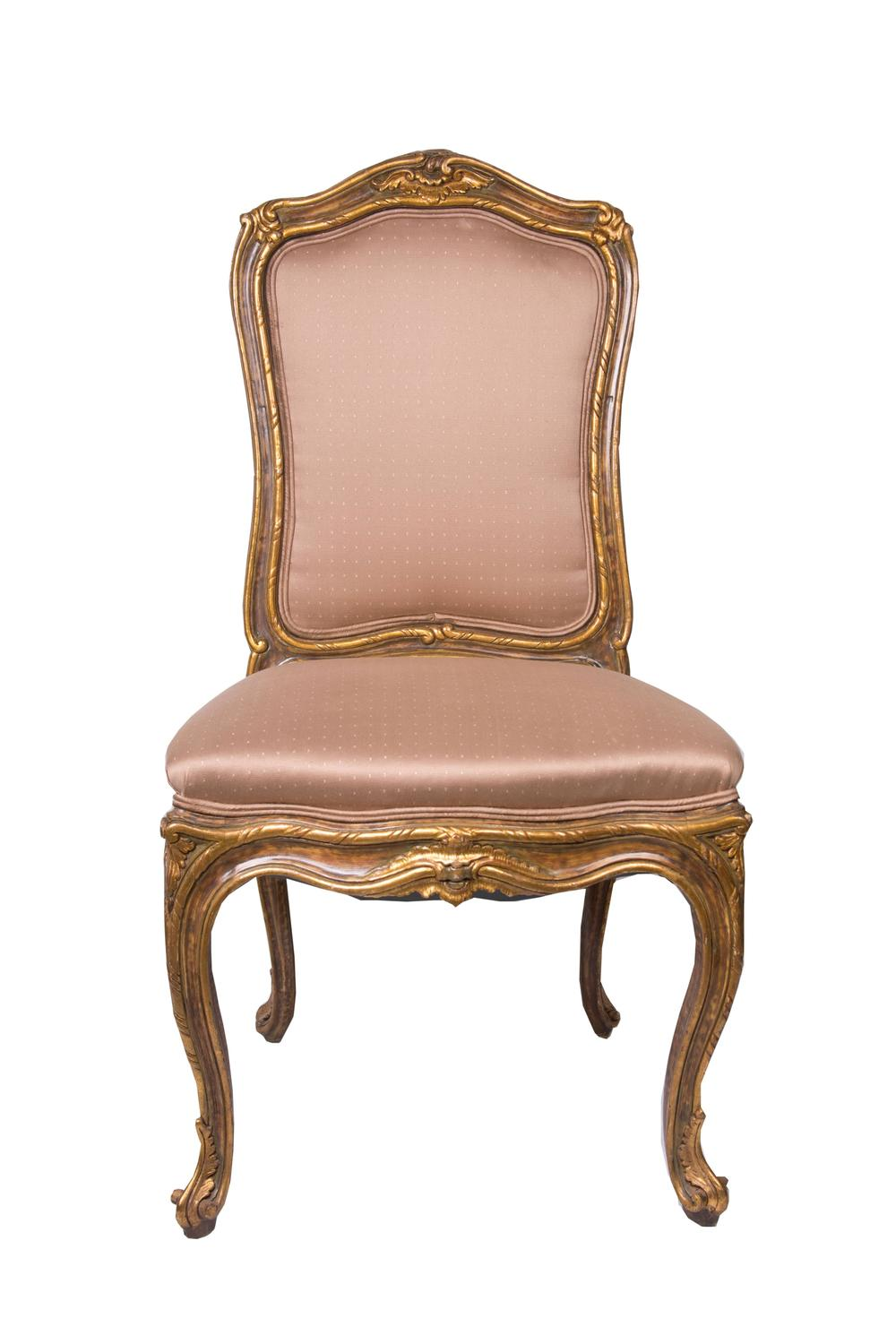 Set Of Six 19th Century French Carved And Gilt Upholstered Side Chairs For Sale At 1stdibs