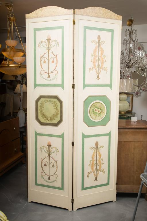 Hand Painted Custom Adams Style Four Panel Screen For Sale At 1stdibs