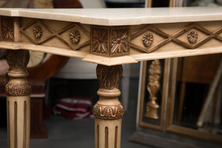 Other Italian Cream Painted Console with Limestone Top For Sale
