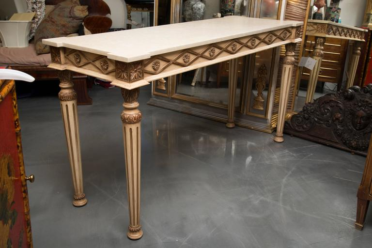 Italian Cream Painted Console with Limestone Top For Sale 2
